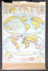 Vtg 1953 DENOYER-GEPPERT World Map J 9 Political Series Pull Down Classroom M21