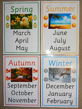 Seasons & Months of the Year -  4 x A4 Posters EYFS/ KS1 Teaching Resource