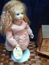 """Roche Wood Jointed Body & Porcelain 11"""" Dorothy Doll House Doll w/Tag # 15/35"""
