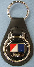 Nice Vintage Black AMC logo JEEP Black Leather USA Silver Keyring Key Fob