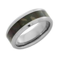 8mm Wide Tungsten Military Jungle Camo Inlay Ring Size 9.5