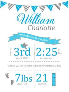 Personalized Baby Print New Baby Girl and Boy Gift Nursery Newborn Digital Art
