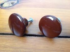 Lot Pair 2 Brown Shiny Round Ceramic Porcelain Knobs Cabinet Drawer Pulls 1.5""