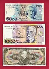 UNC 5 Cruzeiros 1964 (P-176d.3), 1 Novo Crz 1989 P-216b, & 5,000 Crz 1993 P-232c