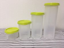 Tupperware Modular Mates Round Sheer w/ Lime Green Seals  #1, #2, #3, #4 New