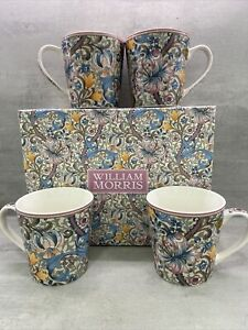 Set Of  4 China Mugs New Design William Morris Golden Lily Boxed LP94497