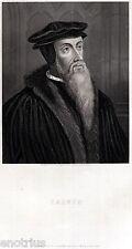 Giovanni Calvino: Teologo, Riforma Protestante,Calvinismo. Steel Engraving.1850