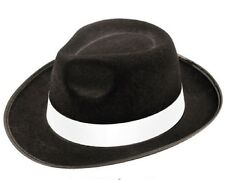 ADULT BLACK GANGSTER HAT FELT TRILBY FEDORA AL CAPONE FANCY DRESS ITALIAN MAFIA