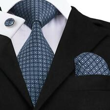 USA Classic Blue Novelty Chinese Style Mens Tie Necktie Silk Wedding Party Set