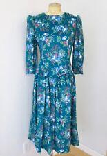 NOS w/Tag Vtg 80s Teal Blue Floral Corduroy Drop Waist Modest Tea Dress Bows 8