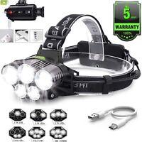 US 90000LM 5X T6 LED Headlamp Rechargeable Headlight Light Flashlight Head Torch