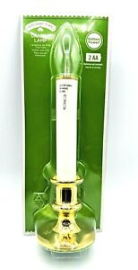 """Holiday Time Battery Operated White and Gold Candle Lamp 9"""" Indoor Use Only New"""