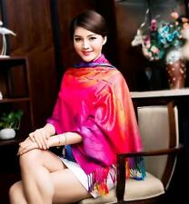 China National weave ColorPeony woman scarf Nepal fringed shawl pashmina Gift 3