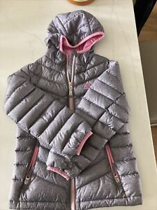 Girls Gerry Gray & Pink Hooded  Down Jacket S 7-8