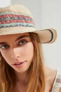 Urban Outfitters Yarn Dyed Salt Water Stripe Straw Panama Hat One Size New