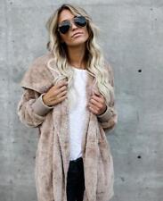 Womens Winter Warm Fleece Fur Jacket Outerwear Tops Hooded Fluffy Coat USA STOCK