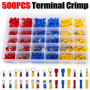 500Pcs Car Wire Assorted Insulated Electrical Terminals Connectors Crimp Box Kit