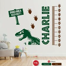 Dinosaur Wall Sticker Height Chart Personalised Childrens Bedroom Vinyl Decal