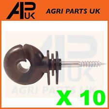 10 x Black Screw Ring Insulators Electric Fence Post Wire Rope Fencing Polywire