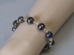 Mystic Smokey Quartz & Swarovski Crystal Elements Bead Bracelet - Stunning!