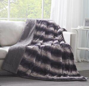 Tache Charcoal Purple Gray Striped Super Soft Luxury Faux Fur Throw Blanket