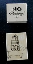"""2 Wooden Rubber Stamps """" NO PEEKING! & DOG WITH GIFTS ON BACK """" (ST-30)"""
