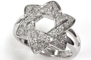 0.3 ctw Natural Diamond Solid 14k White Gold Wide Six-Pointed Star of David Ring