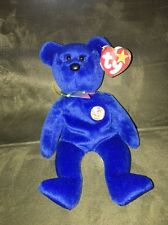 Ty Beanie Baby CLUBBY Royal Blue Teddy Bear Collectible With Tag 1998