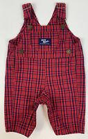 Vtg 90's Oshkosh B'Gosh Baby Bib Overalls Vestbak Checked Red Blue Size 3-6 Mth