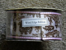 Robert Stanley Ribbon NEW Roll Nursery Rhyme Baby Infant Brown Pink Wired 30'