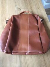 Ladies Soft PU Brown Leather Shoulder Bags Backpack Handbag Rucksack