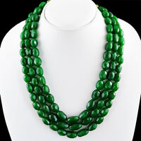 1002.50 CTS EARTH MINED 3 LINE OVAL FACETED RICH GREEN EMERALD BEADS NECKLACE