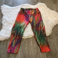 Viva Colours Womens Cropped Leggings Pants Multicolor Mid Rise Abstract XS