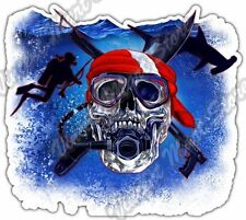 "Scuba Skull Diving Diver Spearfishing Ocean Car Bumper Vinyl Sticker Decal 4.6"""