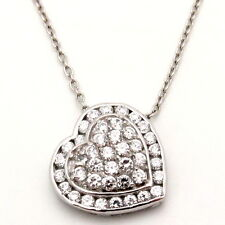 Sterling Silver Heart Pendant with Chain Cubic Zirconia Pave-set 18 inches