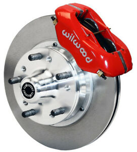 """WILWOOD DISC BRAKE KIT,FRONT,66-72 CHARGER,11"""" ROTORS,RED CALIPERS"""