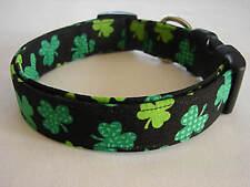 Charming Black with Green Patterned Shamrocks Dog Collar Large