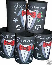 WEDDING STUBBY holder / coolers Groomsman Bestman TUX