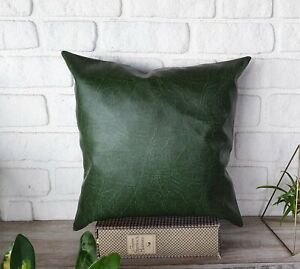 Green color old look  faux leather-backside linen fabric pillow cover-1QTY