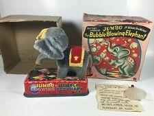 Rare Antique Yonezawa Jumbo Bubble Blowing Elephant Tin Toy Works w/ Box Japan