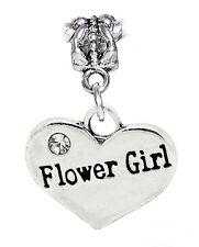 Flower Girl Wedding Party Gift Heart Dangle Charm for European Bead Bracelets