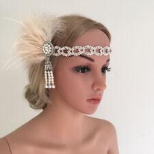 Vintage Crystal Pearls Feather Headband 1920s Great Gatsby Flapper Headpiece