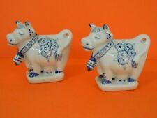 """Coppia """"Mucche della Felicità"""" in pura Porcellana Ungherese Anni 60 OMA19"""