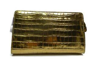 Michael Kors Crossbodies, Embossed-Leather -Large  Crossbody Clutch - Gold