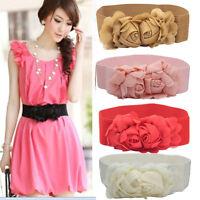 Fashion Woimens Belt Double Rose Flower Buckle Elastic Waist Belt Lady Waistband