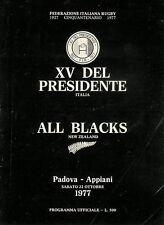 Italian President's XV v New Zealand 22 Oct 1977 Padua RUGBY PROGRAMME