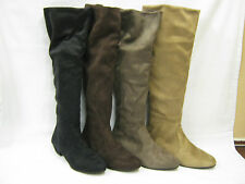 No Pattern Pull on Block Knee High Women's Boots