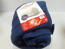 For Sunbeam Heated Blanket 10 Heat Settings, Quilted Fleece, blue king