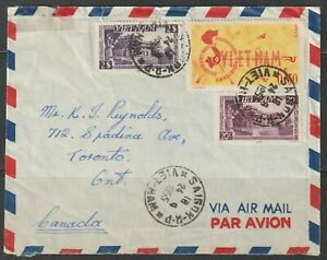 1955 South Vietnam Personal Cover Letter from Saigon to Toronto, Canada