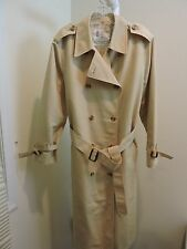 London Fog Polyester Blend Beige 5 Button Closure Lined Long Coat Size- 16R